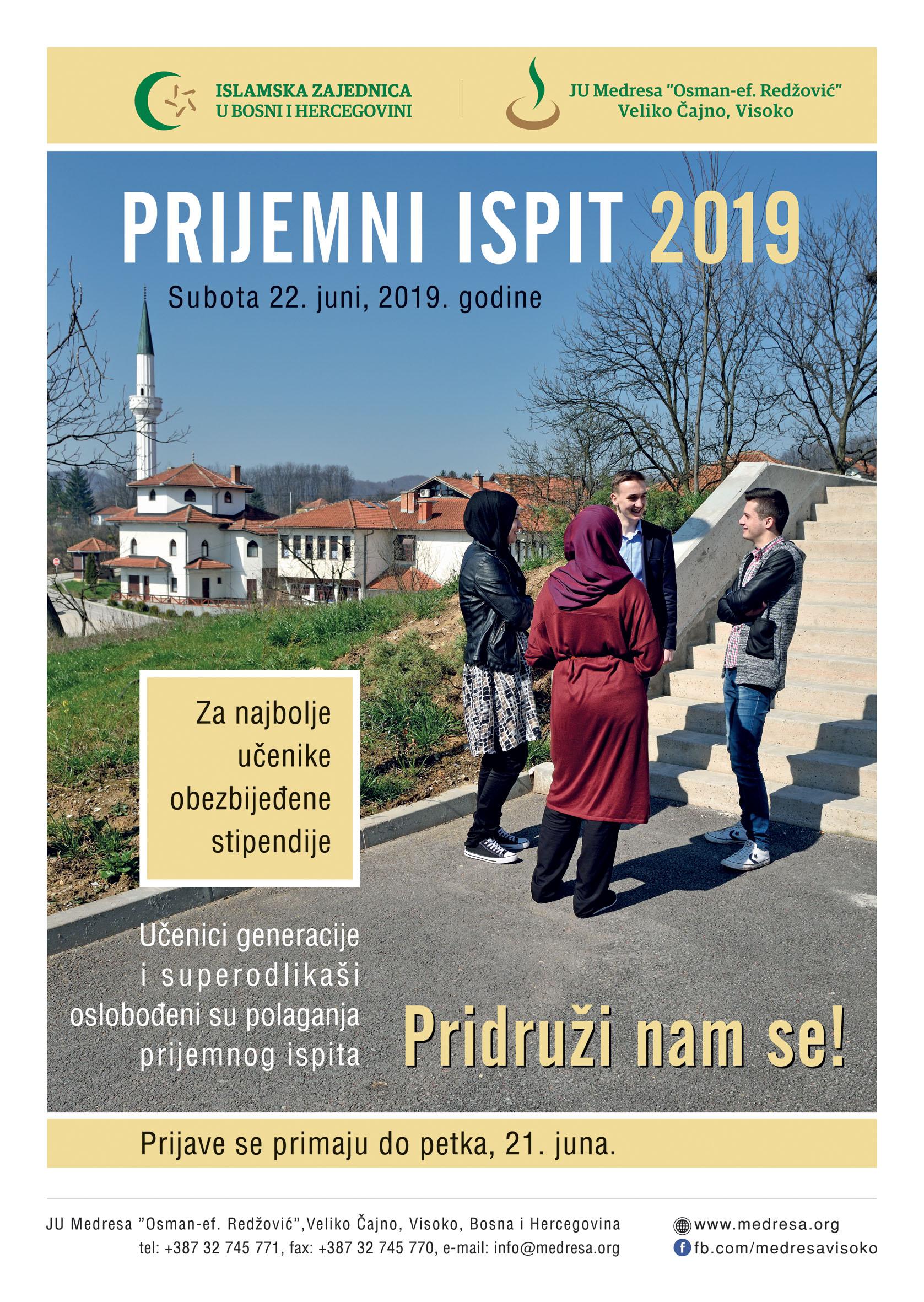 Konkurs Za Upis Učenika U Prvi Razred Medrese, šk. 2019./2020. Godina